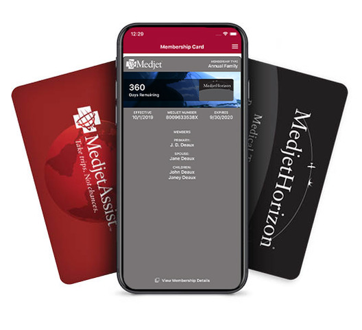 Medjet App with Membership Cards