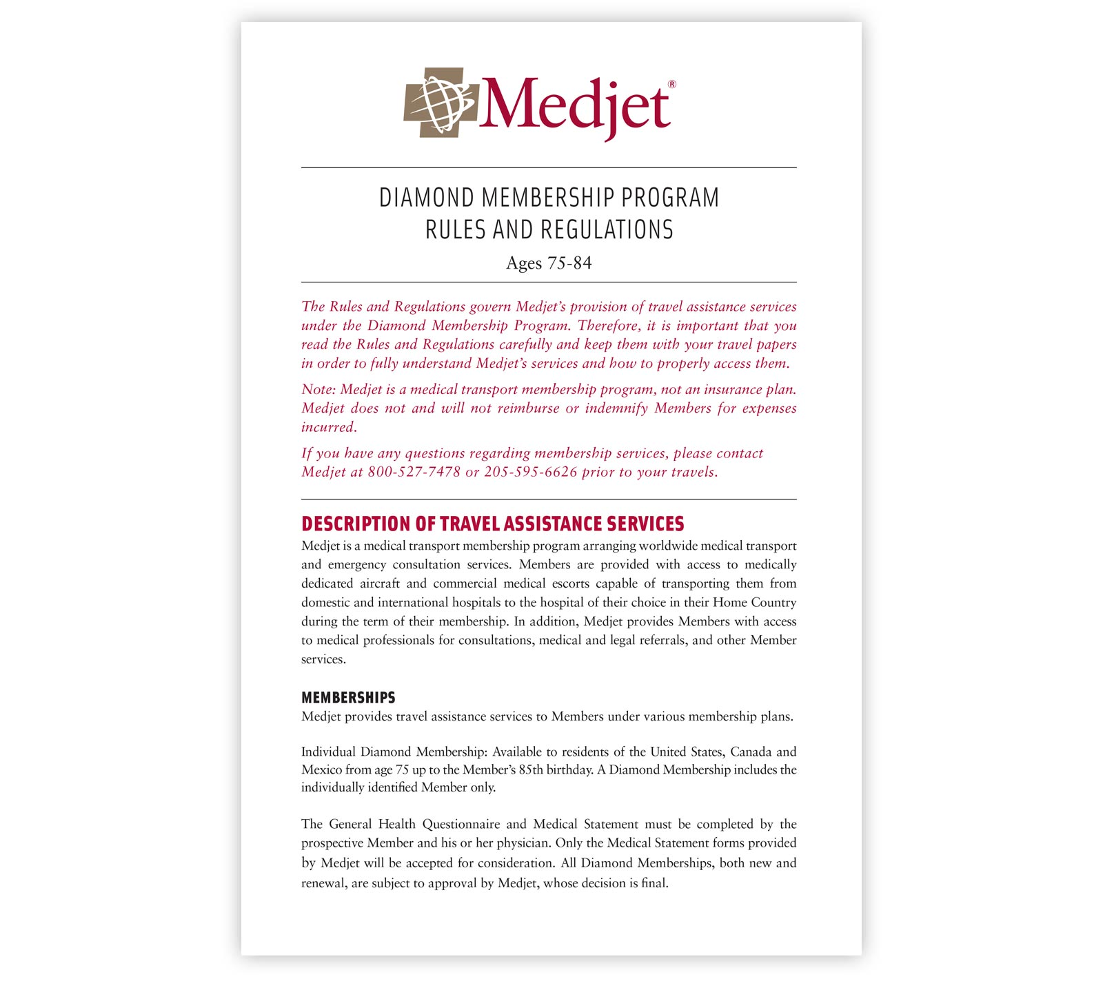Medjet Diamond Membership Rules and Regulations